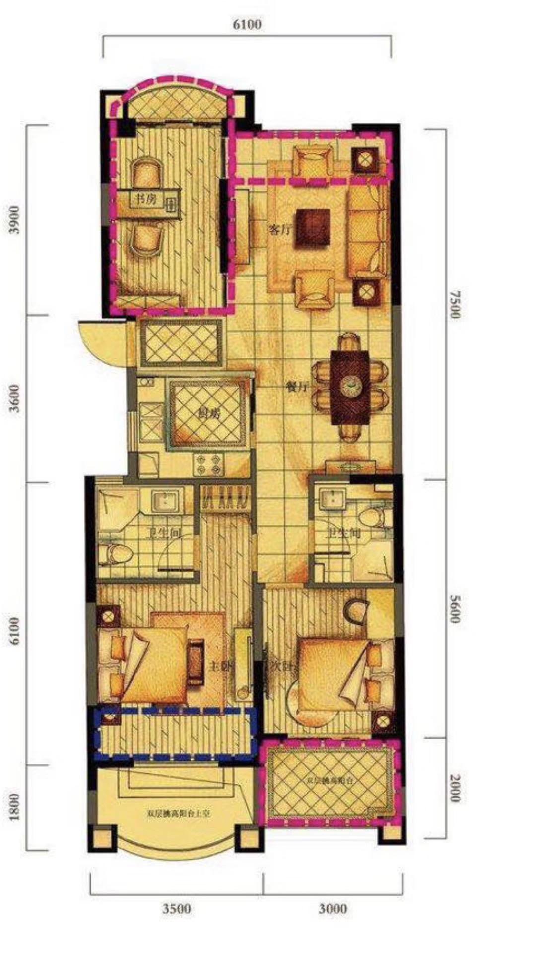出售华瑞晴庐中楼层,89送25方,3房2厅2卫,305万,车位另算25万