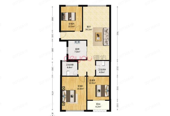 楼层佳采光好,简装三居室,小区环境好,交通便利