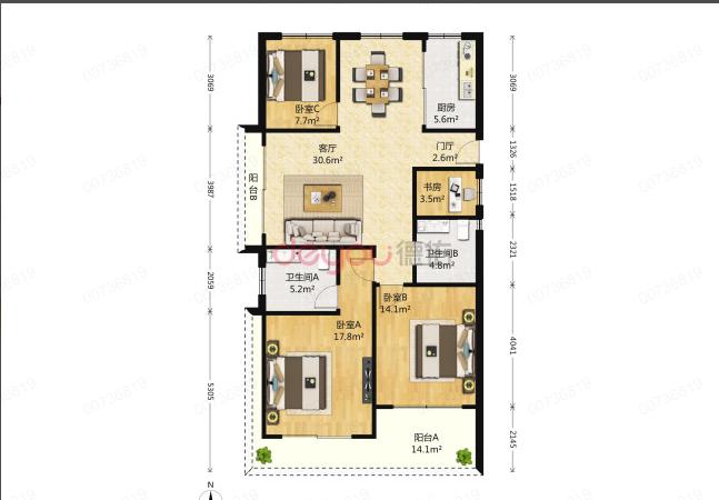 钱江世纪城 亚运村板块  大四房 出租装修边套 满五128方 诚售360W