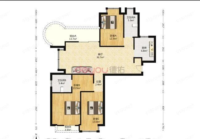 德圣博奥城 可做四房 中间楼层 诚心出售
