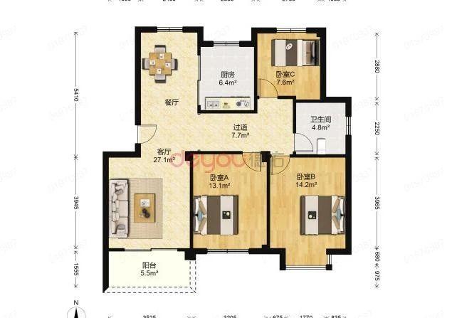 东边套,三房两厅一卫,楼层好,低总价,优越位置,出租装修