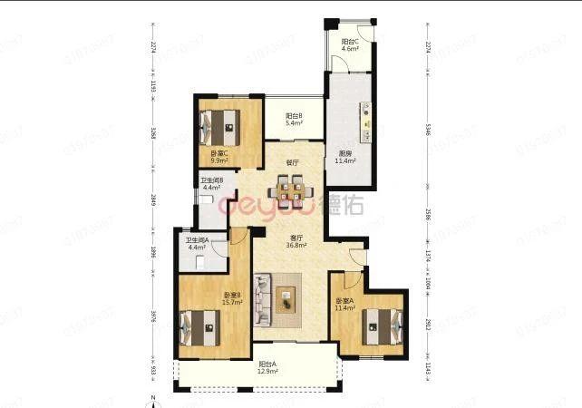 房子户型方正,朝南采光好,楼层好,视野无遮挡,简装